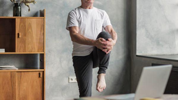 Senior doing knee exercise
