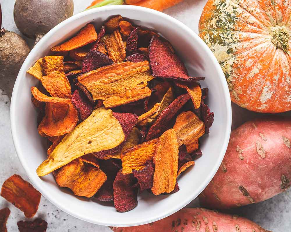 Home made sweet potato chips for healthy travel snacks