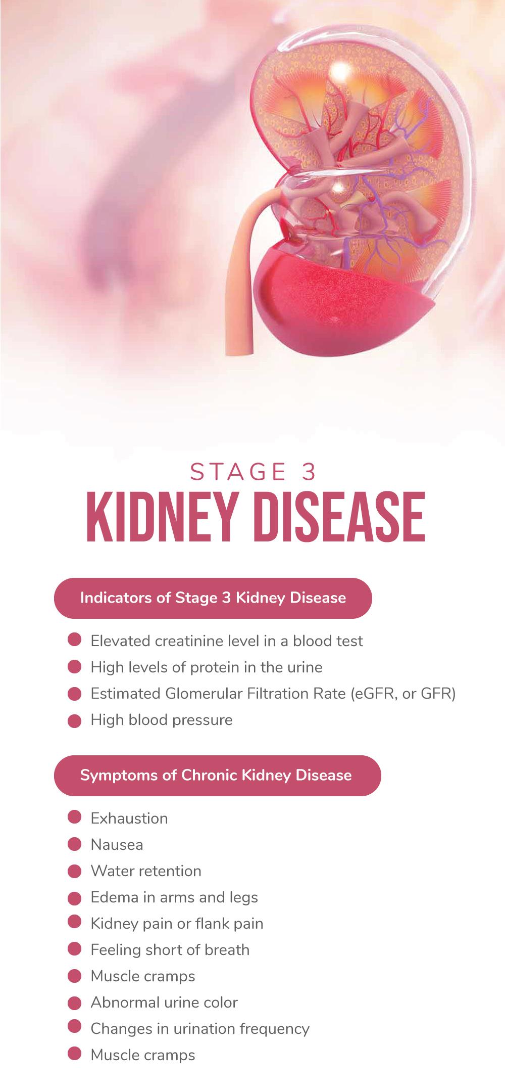 Indicators of Stage 3 Kidney Disease and Symptoms of Chronic Kidney Disease