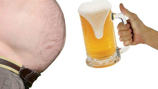 big stomach and a mug of beer