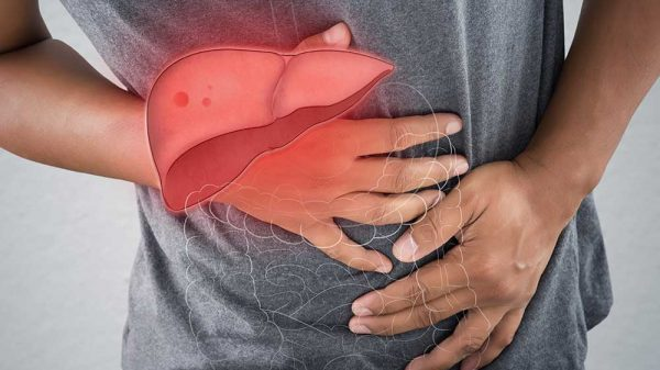 Man in pain due to liver disease