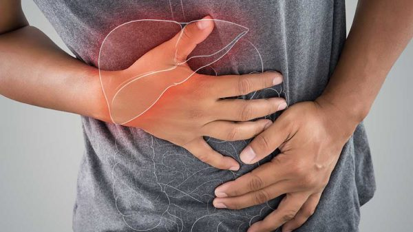 Man in pain due to liver inflammation