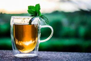 herbal tea in a cup to lower liver enzymes