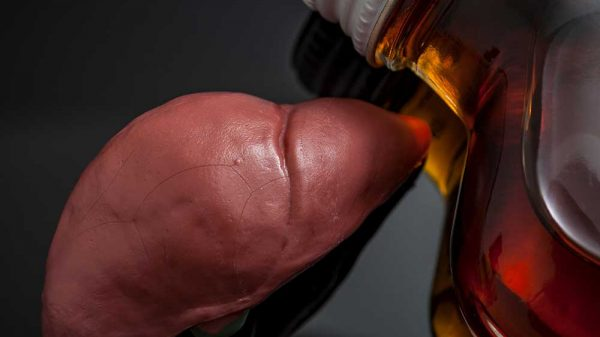 human liver and a bottle of rum