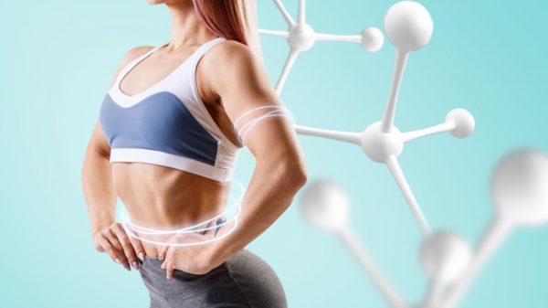 woman exercising and amino acid symbol