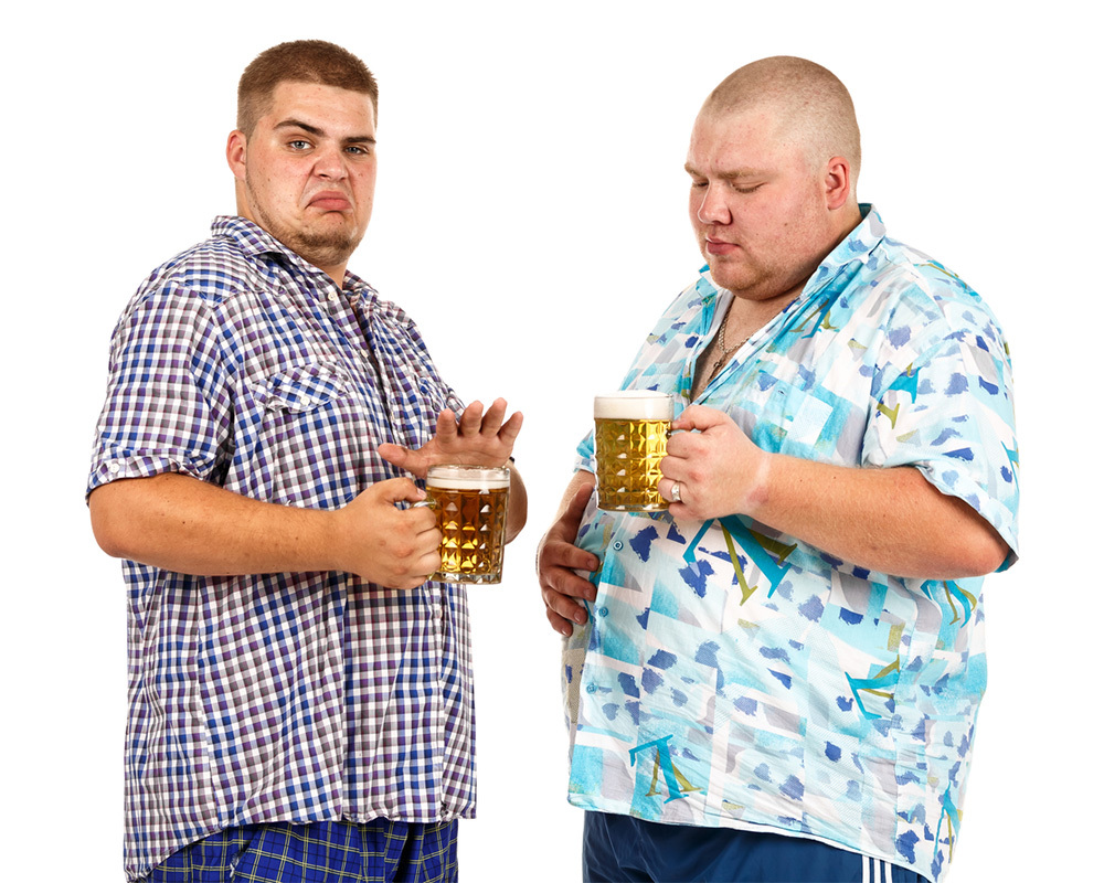 Two fat men holding a mug of beer