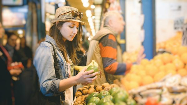 young woman in a marketplace