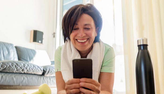 Woman checking her mobile phone