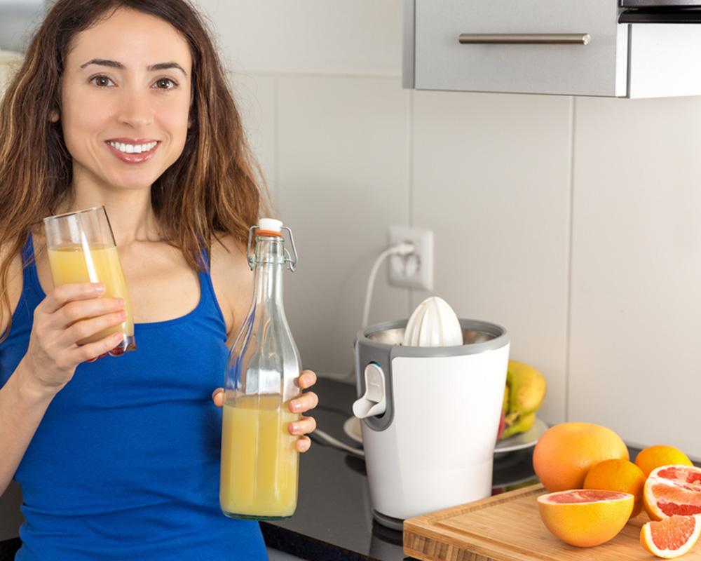 Drinking natural fruit juice